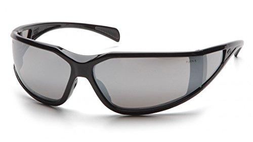 Pyramex SB5170DT Exeter Safety Glasses Blk Frme w/Sil Mirror A/Fog Lens(12 Pair) (Pyramex Glasses Safety Exeter)