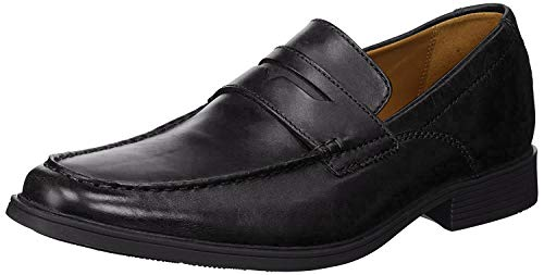 CLARKS Men's Tilden Way Penny Loafer, Black Leather, 10 Medium US