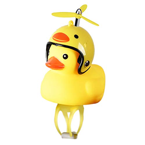 Nivalkid Cartoon Yellow Little Duck Shape Bicycle Bell Shining Mountain Bike Head Light The Little Yellow Duck Ring The Bicycle Light + Helmet + Three-leaf Bamboo Pole (H) -
