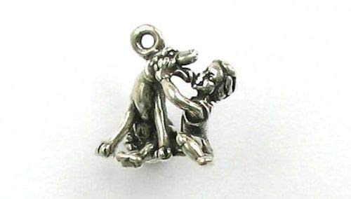 Sterling Silver 3-D Boy Dog Charm - Jewelry Accessories Key Chain Bracelet Necklace Pendants