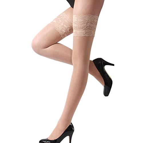 DIOMOR Fashion Sexy Womens Lingerie Net Lace Top Thigh Stocking PantyhoseValentine's Day Present Gift Khaki