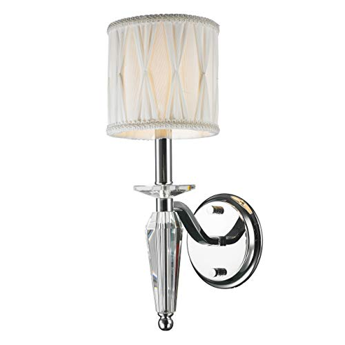 Worldwide Lighting Gatsby Collection 1 Light Arm Chrome Finish and Clear Crystal Wall Sconce with White Fabric Shade 6