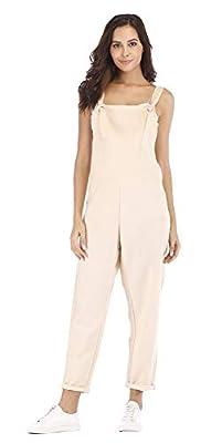 ezShe Women's Linen Casual Loose Fit Jumpsuit Overalls