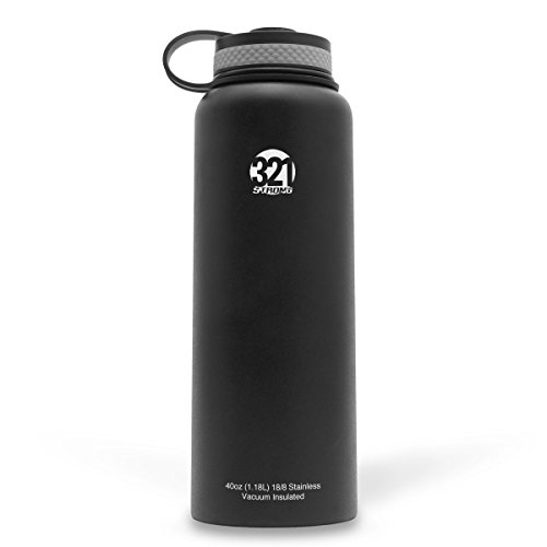 Vacuum Insulated Wide Mouth Stainless Steel Sweat Proof Water Bottle , 40 Ounce , Black