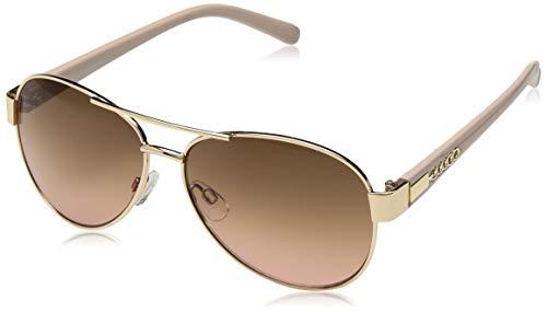 Steve Madden Women's Sm492142 Aviator Sunglasses, Gold Brown Pink, 57 mm (Aviator Sunglasses For Women)