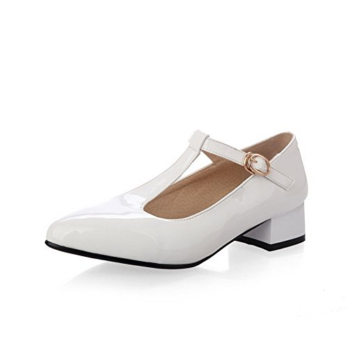 VogueZone009 Women's Pointed Closed Toe Low Heels Solid Buckle Pumps-Shoes White