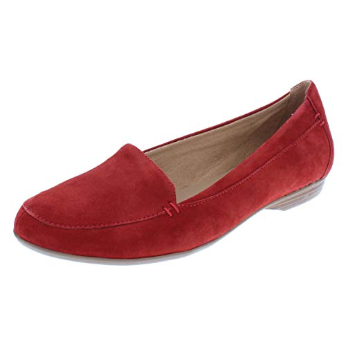 Naturalizer Womens Saban Suede Round Toe Loafers Red 9 Wide (C,D,W)