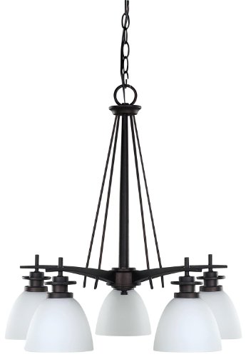 Canarm ICH256A05ORB New Yorker 5-Light Chandelier, Flat Opal Glass and Oil Rubbed Bronze
