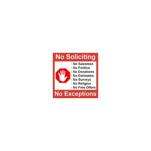 """No Soliciting"" 4 Pack of 5 X 5 Inch No Soliciting Decal Vinyl Self-Adhesive Door & Window Stickers"