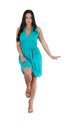 Blue Turquoise Dress - Charm Your Prince Women's Summer Halter Top Sundress (XX-Large, Turquoise)