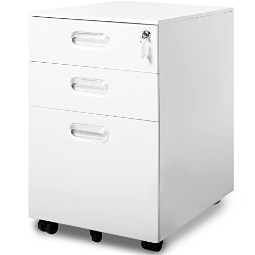 Modern Luxe by Merax 3 Drawer Mobile File Cabinet Solid Metal Rolling Cabinet Fully Assembled Except Casters (White) by Merax.