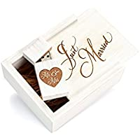 Maple White Wash 16GB USB Flash Drive - Inserted into a Engraved Maple Wedding White Box with Raffia grass inside. Laser Engraved Just Married Design!