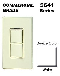 Leviton 5641-W 120/277 Volt 15 Amp 1-Pole 3-Way Commercial Grade AC Combination Switch White Decora
