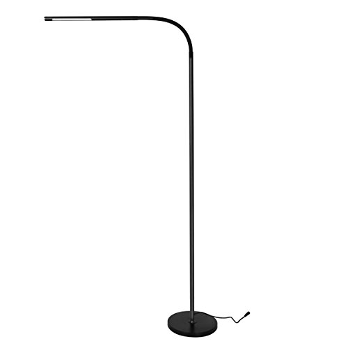 Dimmable LED Floor Lamp for Reading, Adjustable Long Gooseneck, Eye-Care Touch-Sensitive, 4 Color Modes with Stepless Dimming Brightness (Black)