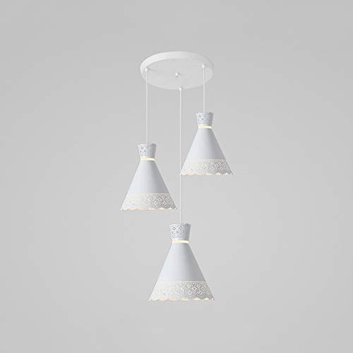 Raelf Three-head Combination Restaurant Pendant Light Modern Minimalist Home Long Plate Wrought Iron Dining Table Chandelier Wrought Iron Hollow Lampshade Hanging Ceiling Light (Color : Style 2)