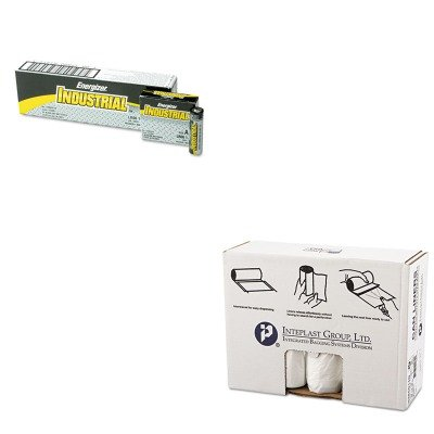 KITEVEEN91IBSS386014N - Value Kit - High Density Can Liner 38 x 60 14 Mic Natural (IBSS386014N) and Energizer Industrial Alkaline Batteries (EVEEN91)