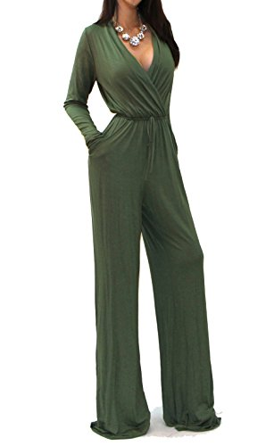 Vivicastle Sexy Wrap Top Wide Leg Long Sleeve Cocktail Knit Jumpsuit (Small, Olive)