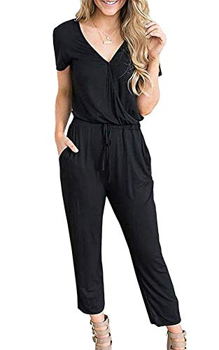(Women V Neck Jumpsuit Casual Loose Short Sleeve Long Pants Playsuit with Pockets Drawstring Waisted Rompers (Small, Black))
