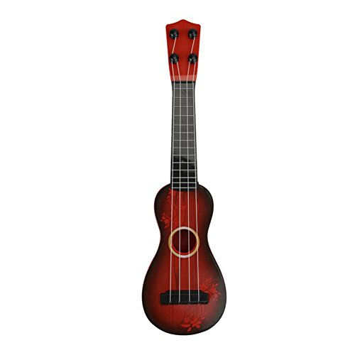 Samber Children Guitar Toy Musical Instrument Toy Kids Early Education Toy Musical Gift Acoustic Toy Guitar Ukulele for Beginners Students Children Kids (Reddish Brown)