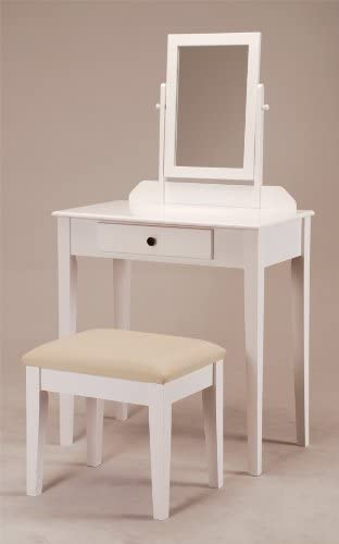 Contemporary Vanity Set with Adjustable Mirror and Stool White Finish