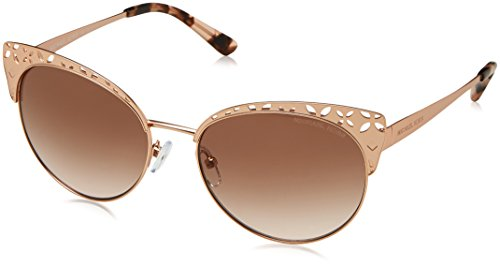 Michael Kors Damen Sonnenbrille Evy 106413, Satin Rose Gold-Tone/Brownpeachgradient, 56