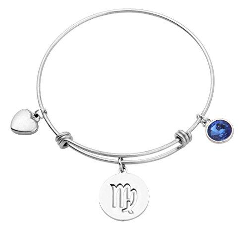 KUIYAI Stainless Steel Zodiac Sign and Birthstone Charm Necklace Bracelet (September-Virgo ()