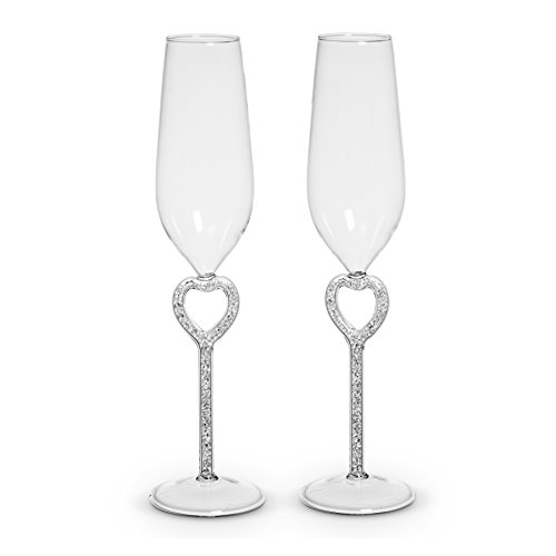 Abbott Collection Gem Heart Toasting Flutes Clear (Set of 2)