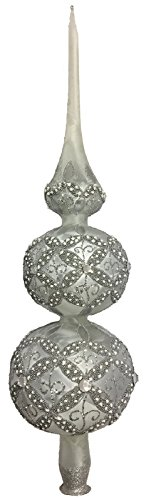 Glass Tree Topper - Pinnacle Peak Trading Company Frosted Silver and White Jeweled Polish Glass Christmas Tree Topper Made Poland