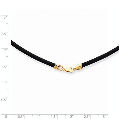 14k Yellow Gold 3mm 20in with Yellow Clasp Black Rubber Cord Necklace. ()