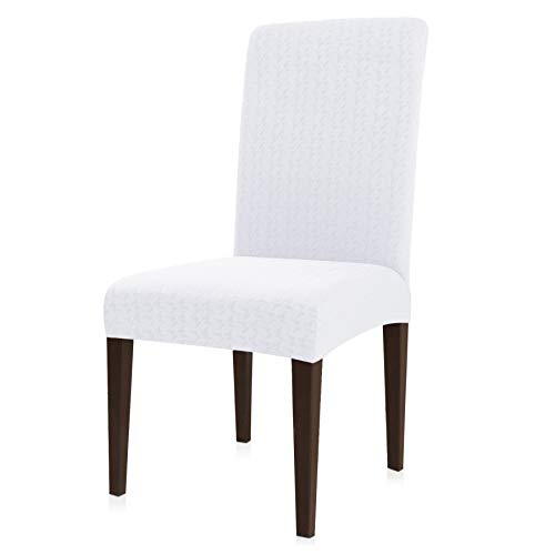 Dining Cotton Room Chair (Subrtex Embossed Jacquard Fabric Stretch Chair Slipcovers (4, White))