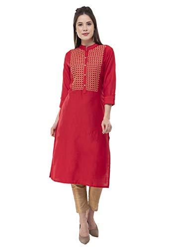 (Lagi Women Designer Straight, Front Slit, A line, Top Tunic,Kurta Kutis, Casual, Formal,Party wear,Weeding wear for Women (L, UG08B (Red)))
