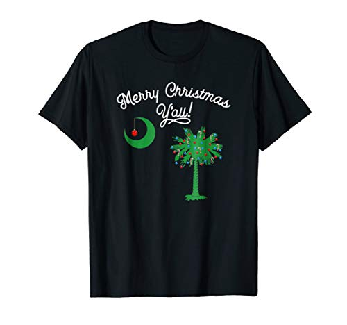 South Carolina Palmetto Tree Merry Christmas Y'all T-Shirt