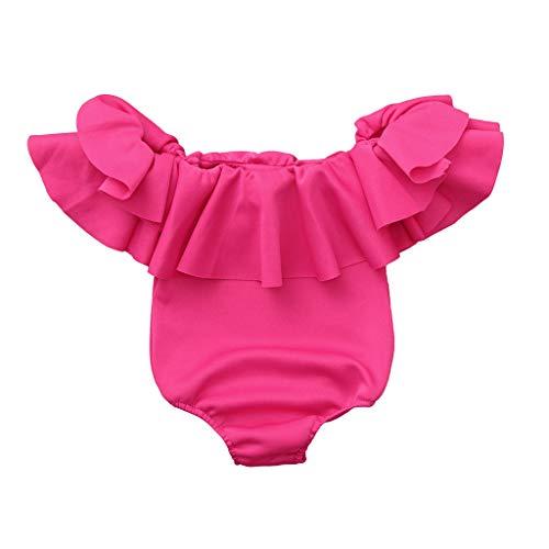 Baby Romper, Waymine Infant Girls Solid Color Sleeveless Off Shoulder Jumpsuit Hot Pink]()
