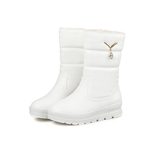 AllhqFashion Womens Round Closed Toe Low-Heels Soft Material Low-Top Solid Boots White AUTMHDk