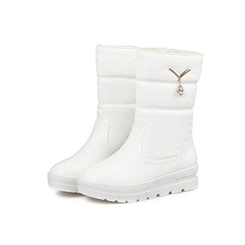 AgooLar Blanco Sólido Mujeres Redonda Cordones Botas Sin Puntera Baja Plataforma Caña aq7xpwaF