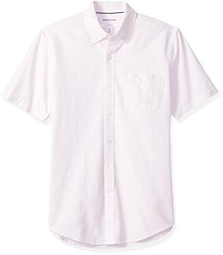 Amazon Essentials Men's Slim-Fit Short-Sleeve Pocket Oxford Shirt, Pink, Medium