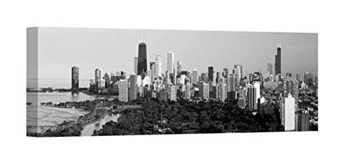 Easy Art Prints Panoramic Images's 'Hancock Building, Sears Tower, Lincoln Park, Lake Michigan, Chicago, Illinois' Canvas Art 30 x 10