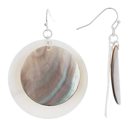 (Sterling Silver With Abalone & Mother Of Pearl Wholesale Gemstone Fashion Jewelry Drop Earrings)