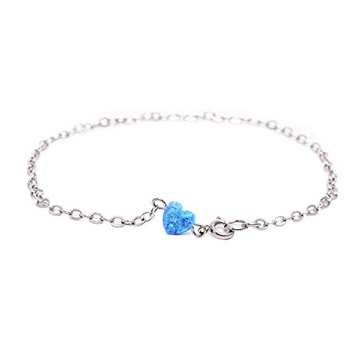 Blue Opal Heart-shaped Anklet Semi-precious Birthstone Jewelry Silver Chain Link Anklet for Women (Personalized Semi Precious Mothers Bracelet)