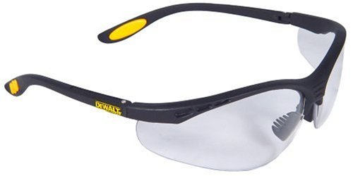 Dewalt DPG58-1C Reinforcer Clear Lens High Performance Protective Safety Glasses with Rubber Temples