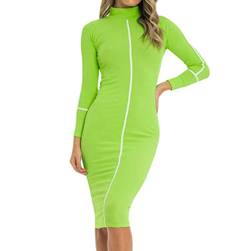 NANTE Top Women's Dress Stand Color Block Dresses Long Sleeve Skirt V Neck Ladies Gown Stretch Slim Dress Sundress Beachdress (Green, S)
