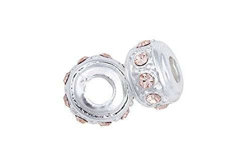 Beaded Roundle Silver-Plated Large Hole Beads With Light Peach Preciosa Czech Crystal 8.17x12mm pack of 4pcs (Large Hole Light)