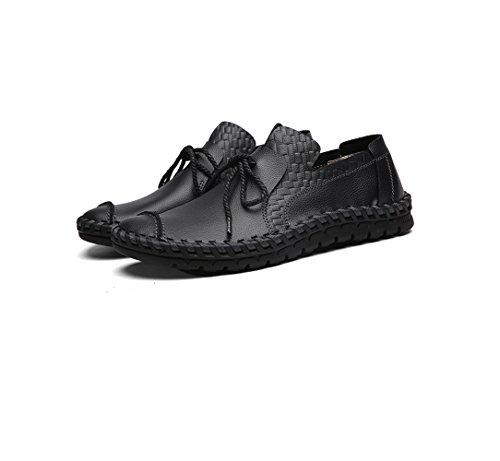 Hommes Respirant Chaussures De Sport Affaires Chaussures Printemps Automne Noir Jaune Marron Dentelle Chaussures Toile De Sport Black KGvYkaTd