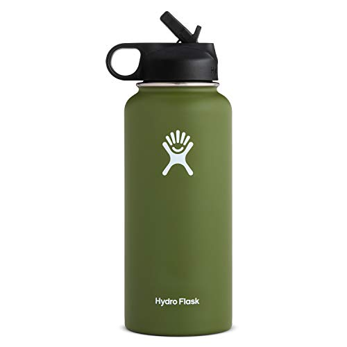 Hydro Flask Wide Mouth Water Bottle, Straw Lid – 32 oz, Olive