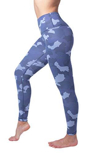 Full Moon Juniors T-shirt - Yogalicious High Waist Nude Tech V-Back Camo Printed Ankle Leggings - Blue Moon Camo - XS