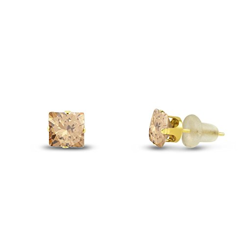 3x3mm Square Princess Cut Champagne CZ Solid 10K Yellow Gold 4-Prong Set Baby Stud Earrings ()