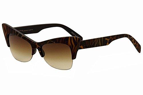 (Italia Independent Women's I-Plastik 0908 ZEF Zef Brown Cat Eye Sunglasses 59mm)