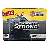 Clorox CLO 70313 Glad 30'' x 33'' Size, 1.1-mil Thickness, 13 Gallon Black Color Drawstring Outdoor Trash Bag