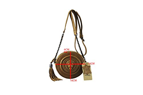 FERETI borsa rotonda piccole Marrone chiaro a tracolla da donna vera pelle con Leone 3D con catena e nappa