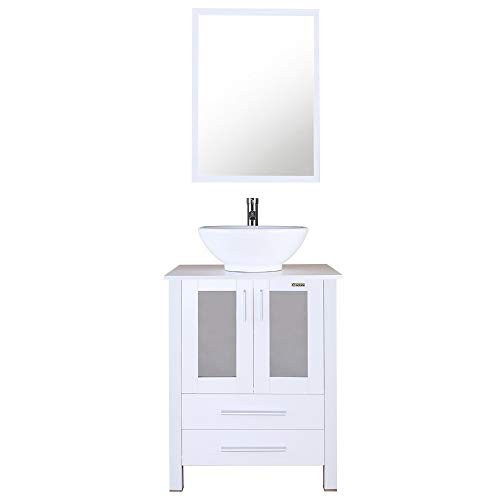 eclife White Bathroom Vanity Cabinet and Sink Units Modern Stand Pedestal with Round White Ceramic Vessel Sink, Chrome Bathroom Solid Brass Faucet and Pop Up Drain Combo, with Mirror (A06B02W)